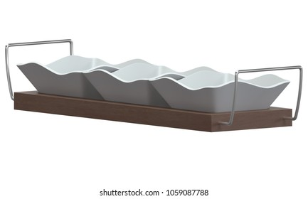 Ceramic bowls on tray isolated on white background. 3D illustration