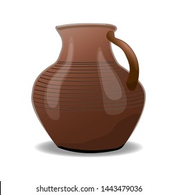 Ceramic , brown jug vertically isolated on white background. Illustration
