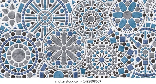 ceramic digital wall tiles design with different circle pattern and aqua, grey colour combination