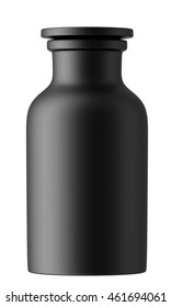 Ceramic or glass bottle isolated on white background. 3D Mock up for your design. Oil, cosmetics, perfume, medicament. Small black bottle.