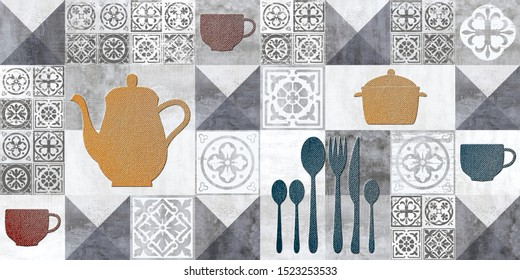Ceramic kitchen or washroom wall tiles, in multi colors.