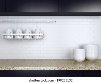 Ceramic kitchenware on the marble worktop. Black and white kitchen design.