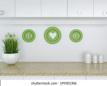 Ceramic kitchenware on the marble worktop. White kitchen design.