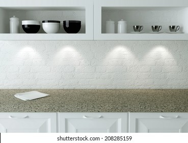Ceramic kitchenware on the shelf. Marble worktop. White kitchen design.