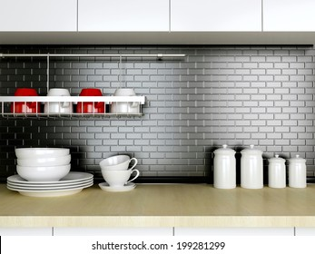 Ceramic kitchenware on the wooden worktop. Black and white kitchen design.