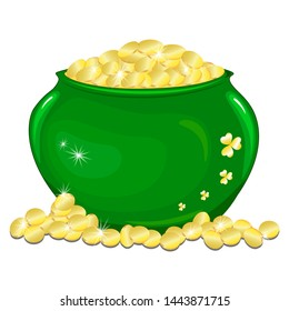 Ceramic pot with gold coins. shining with gold. Isolated on white illustration