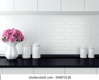 Ceramic tableware on the worktop. Black and white kitchen design.