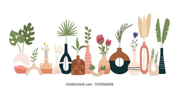 Ceramic vase poster. Scandinavian art with vases, pots and jugs. Handmade pottery kitchen banner. Minimal modern flat  print. Scandinavian ceramic vase, floral decoration blossom illustration