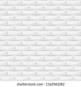 Ceramic white brick tile wall illustration.