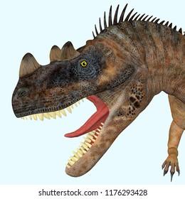 Ceratosaurus Dinosaur Head 3D illustration - Ceratosaurus was a theropod carnivorous dinosaur that lived in North America during the Jurassic period.
