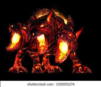 Cerberus 3 Headed Lava Hound 3D rendering 3D Illustration