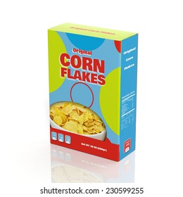 Cereal and corn flakes paper box package isolated on white. 3d illustration