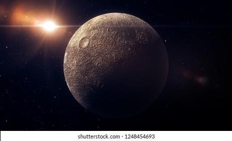 Ceres dwarf planet 3d render for background