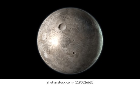 Ceres Dwarf planet isolated on black background. 3D render.