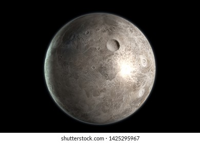 Ceres dwarf planet in its own orbit in the outer space. 3D render.