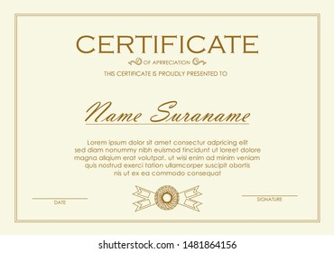 Certificate of achievement templates with Thai square lines applied in golden yellow tones