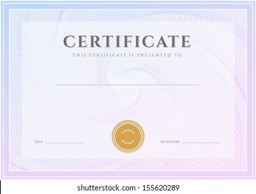 Certificate, Diploma of completion (design template, background) with guilloche pattern (watermark), border, frame. Green Certificate of Achievement, Certificate of education, coupon, awards, winner