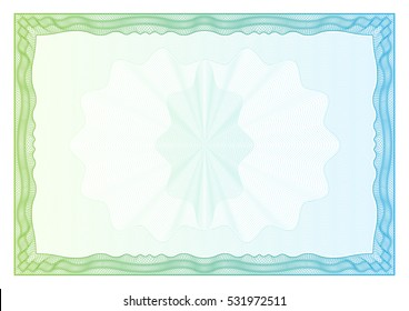 Certificate.  pattern that is used in currency and diplomas
