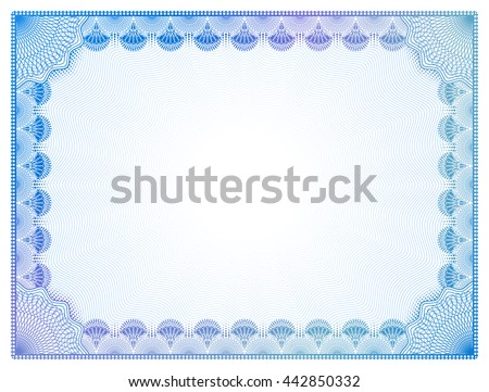 Certificate Template Guilloche Elements Blue Diploma Stock