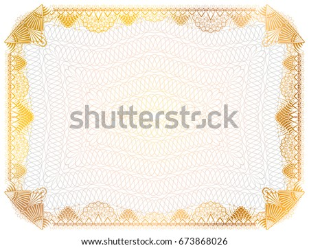 Certificate Template Guilloche Elements Yellow Diploma Stock