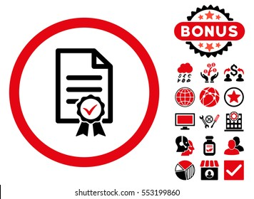 Certified icon with bonus pictogram. Glyph illustration style is flat iconic bicolor symbols, intensive red and black colors, white background.