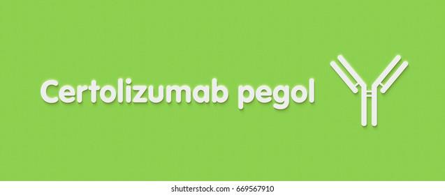 Certolizumab pegol antibody drug (pegylated Fab' fragment). Targets TNF-a; indications include Crohn's disease, rheumatoid arthritis and ankylosing spondylitis. Generic name and stylized antibody.