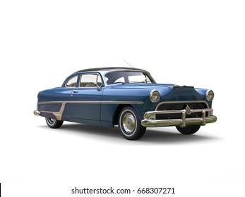 Cerulean Blue vintage car - 3D Illustration