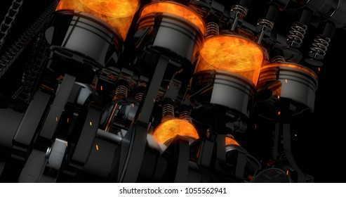 CG model of a working V8 engine with explosions and sparks. Pistons and other mechanical parts are in motion.