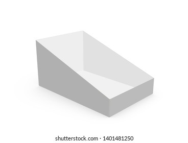 CGI 3d Blank empty white counter display mock-up on white background works with design simulation