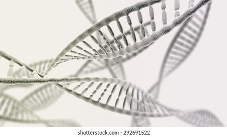 CGI visualization of the many DNA helix (electronic microscope simulation) with focus effect (light version)