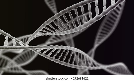 CGI visualization of the many DNA helix (electronic microscope simulation) with focus effect (dark version)