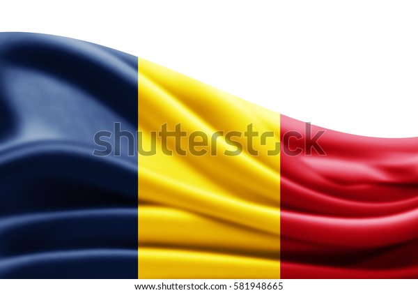 Chad flag of silk with copyspace for your text or images and white background -3D illustration
