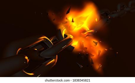chain break breaking fire flames in black background crisis economy feellings - 3d rendering