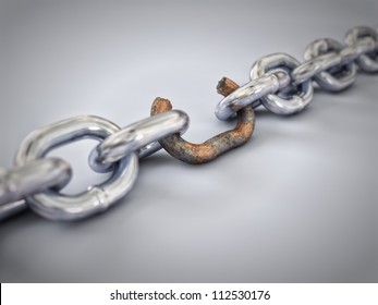A chain with a broken, rusted and weak link