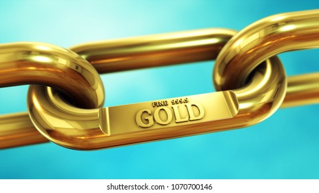 Chain of fine gold. Finance and investment 3D illustration concept.