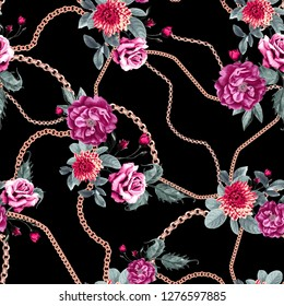 Chain and flowers pattern