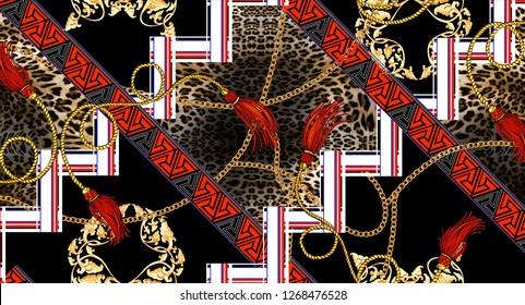 chain leopard geometric border ethnic