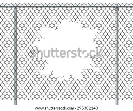 chain link fence hole blank copyのイラスト素材 295302143 shutterstock