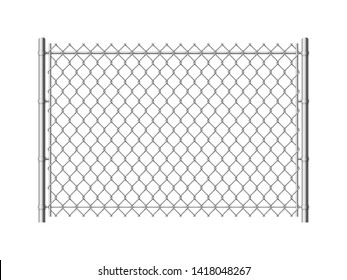 Chain link fence. Realistic metal mesh fences wire grid construction steel security and safety wall industrial border metallic texture, pattern