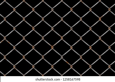 chain link fence with rust...lack background 300dpi
