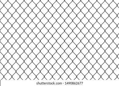 Chain link fence and White walls with grilles.