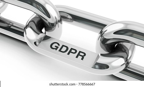 Chain with link with text - GDPR - General Data Protection Regulation, three-dimensional rendering, 3D illustration