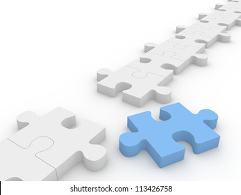 Chain of puzzle pieces with a blue piece out of the row.