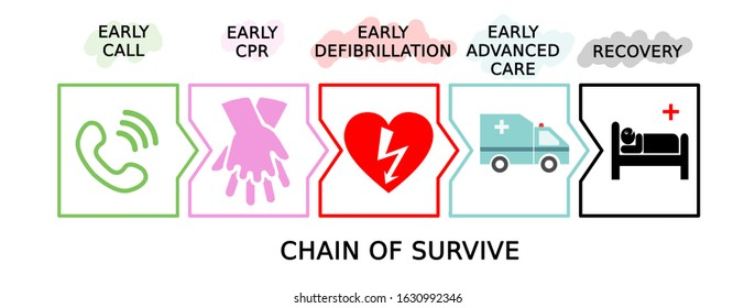 The chain of survival . Blsd protocol to save heart attack people. Early defibrillation concept. Illustration on white background.