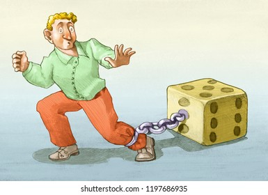 chained man to die tries to escape allegory pencil illustration allegory of gambling addiction