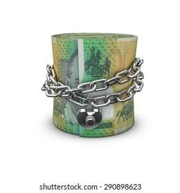 Chained money roll Australian dollars, 3D render of locked chain around rolled up Australian hundred dollar bills