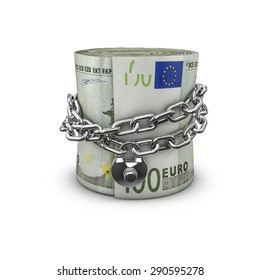 Chained money roll euros, 3D render of locked chain around rolled up hundred euro notes
