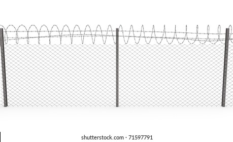 Chainlink fence with barbed wire on top  isolated on white background, front view