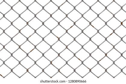 chainlink fence with rust isolated 3d illustration 45x28cm 300dpi