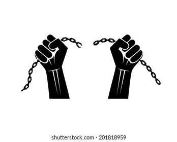 chains broken off by hands